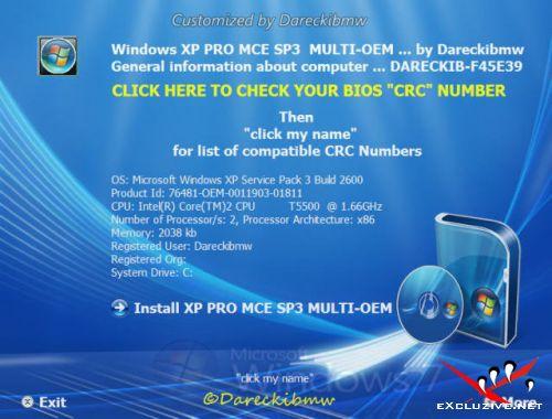 Microsoft Windows XP Pro MCE SP3 Multi OEM (x32) + Rus mui