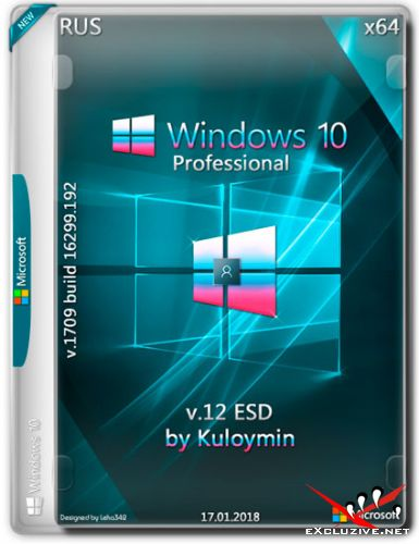 Windows 10 Pro x64 1709.16299.192 by Kuloymin v.12 ESD (RUS/2018)