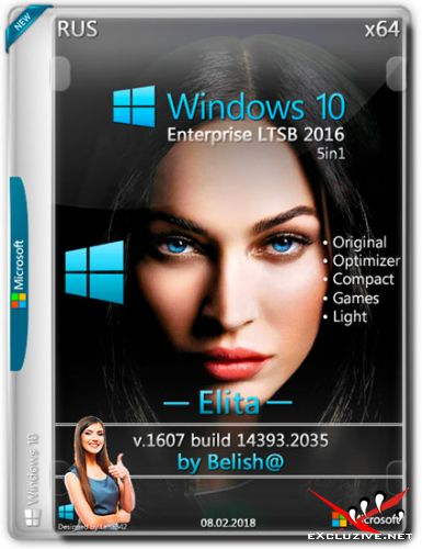 Windows 10 Enterprise LTSB 2016 x64 14393.2035 Elita by Bellish@ (RUS/2018)