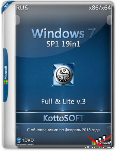 Windows 7 SP1 x86/x64 19in1 Full & Lite KottoSOFT v.3 (RUS/2018)