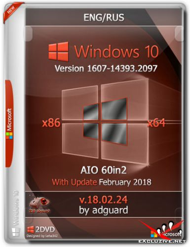 Windows 10 x86/x64 1607.14393.2097 With Update AIO 60in2 v.18.02.24 (RUS/ENG/2018)