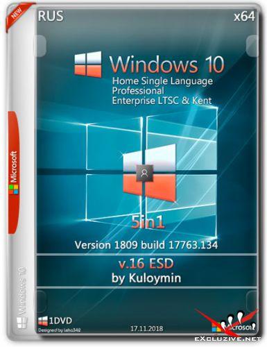 Windows 10 x64 1809.17763.134 5in1 v.16 ESD by Kuloymin (RUS/2018)