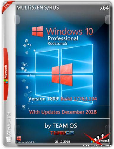 Windows 10 Pro x64 RS5 1809.17763.194 Dec2018 by TEAM OS (MULTi5/ENG/RUS)