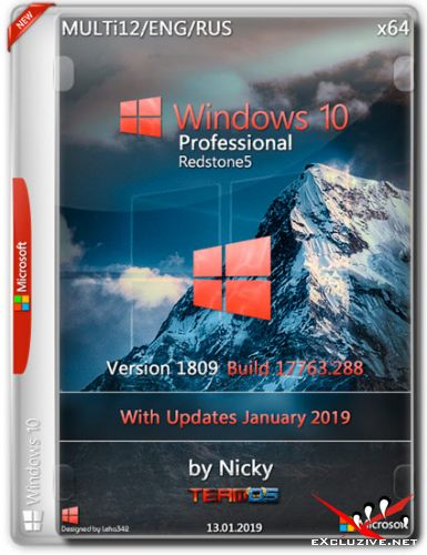 Windows 10 Pro x64 RS5 1809.17763.288 by Nicky (MULTi12/ENG/RUS/2019)