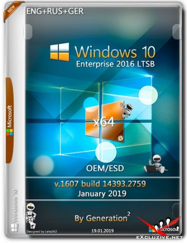Windows 10 Enterprise LTSB x64 14393.2759 OEM Jan 2019 by Generation2 (ENG+RUS+GER)