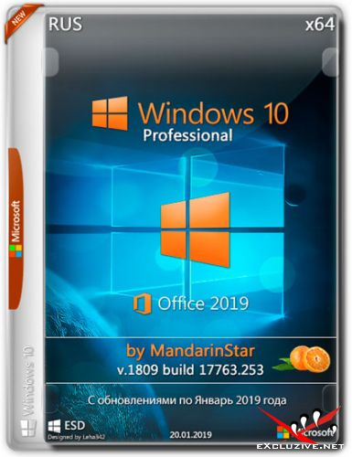 Windows 10 Pro x64 1809.17763.253 Office 2019 by MandarinStar (RUS/2019)