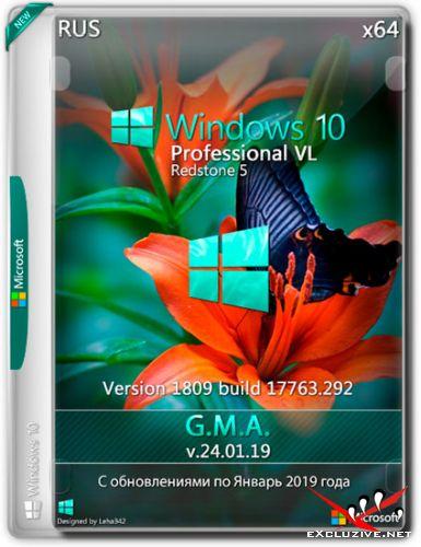 Windows 10 Pro VL RS5 1809.17763.292 x64 G.M.A. v.24.01.19 (RUS/2019)