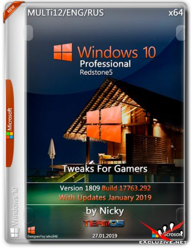 Windows 10 Pro x64 1809.17763.292 Gamers by Nicky (MULTi12/ENG/RUS/2019)