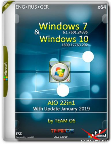 Windows 7/10 x64 AIO 22in1 Jan 2019 by TEAM OS (ENG+RUS+GER)