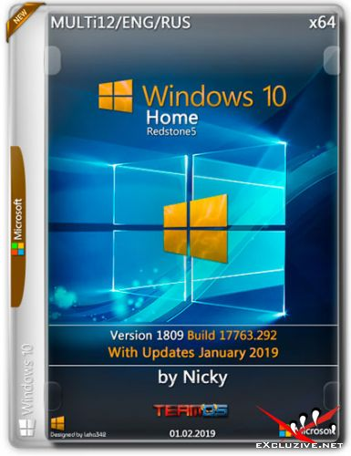 Windows 10 Home x64 1809.17763.292 by Nicky (MULTi12/ENG/RUS/2019)