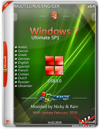Windows 7 Ultimate SP1 x64 USB3.0 Modded by Nicky & Rain v.2 (MULTi11/ENG/RUS/2019)