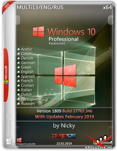 Windows 10 Pro x64 1809.17763.346 by Nicky (MULTi13/ENG/RUS/2019)