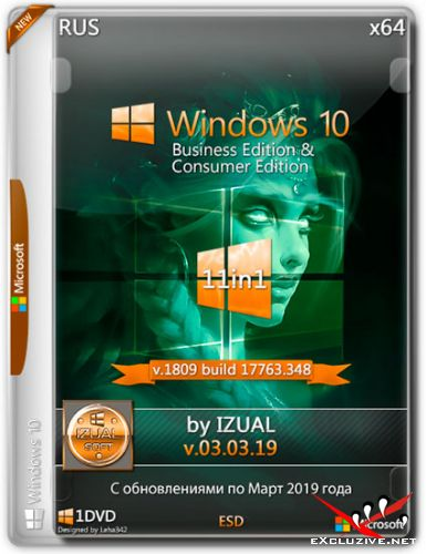 Windows 10 x64 11in1 v.1809.17763.348 v.03.03.19 by IZUAL (RUS/2019)