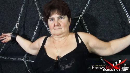Hana - Granny in sexy lingerie hogtied (2019/HD)