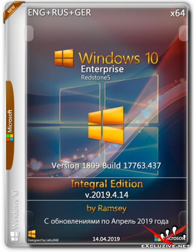 Windows 10 Enterprise x64 1809 Integral Edition v.2019.4.14 (ENG+RUS+GER)