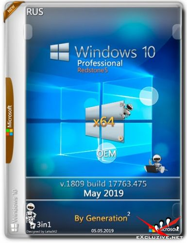 Windows 10 Pro x64 RS5 v.1809.17763.475 OEM May 2019 by Generation2 (RUS)