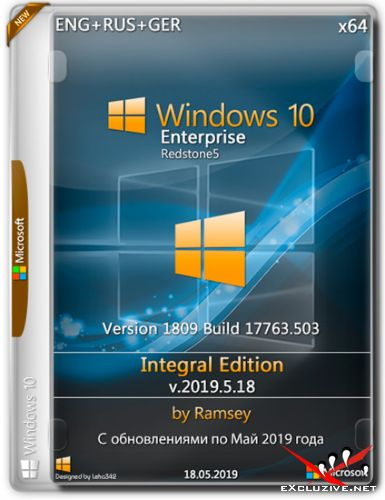Windows 10 Enterprise x64 1809 Integral Edition v.2019.5.18 (ENG+RUS+GER)