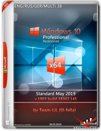 Windows 10 Pro x64 1903.18362.145 Standard May 2019 Team-LiL (Multi-38/RUS/2019)