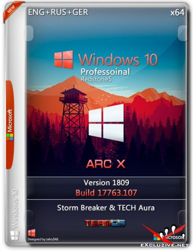 Windows 10 Pro x64 1809 ARC X by Storm Breaker & TECH Aura (ENG+RUS+GER/2019)